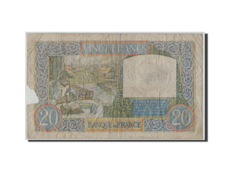 France, 20 Francs Science et Travail, 1939-12-07, KM:92a, Fayette:12.1, VG(8-10)