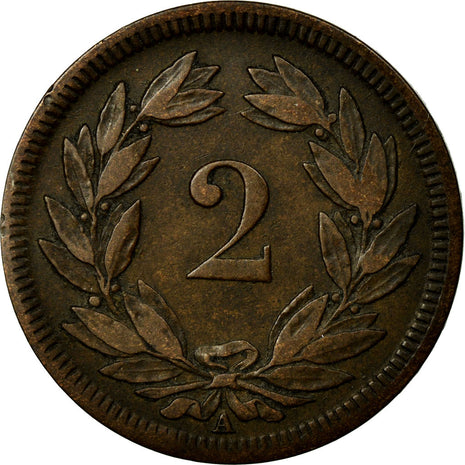 Coin, Switzerland, 2 Rappen, 1851, Paris, EF(40-45), Bronze
