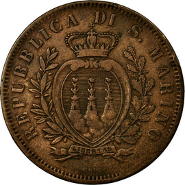 Coin, San Marino, 10 Centesimi, 1875, Rome, VF(30-35), Copper, KM:2