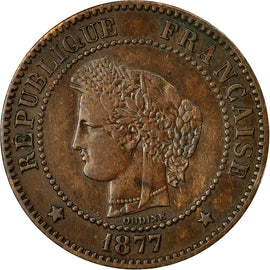 Coin, France, Cérès, 2 Centimes, 1877, Paris, EF(40-45), Bronze, KM:827.1, Le