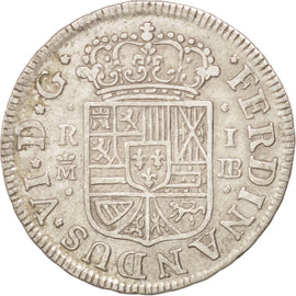 SPAIN, Real, 1756, Madrid, KM #369.1, AU(50-53), Silver, 2.87