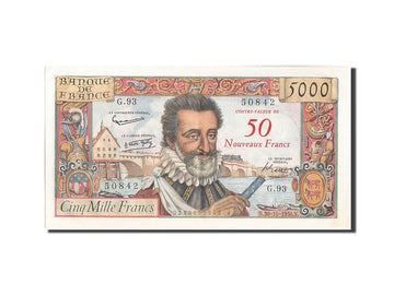France, 50 Nouveaux Francs on 5000 Francs, 5 000 F 1957-1958 ''Henri IV'', 19...