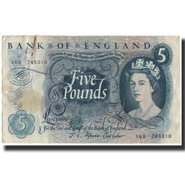 Banknote, Great Britain, 5 Pounds, 1966, KM:375b, VF(20-25)