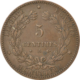 Coin, France, Cérès, 5 Centimes, 1879, Paris, EF(40-45), Bronze, KM:821.1