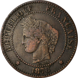 Coin, France, Cérès, 2 Centimes, 1878, Paris, EF(40-45), Bronze, KM:827.1