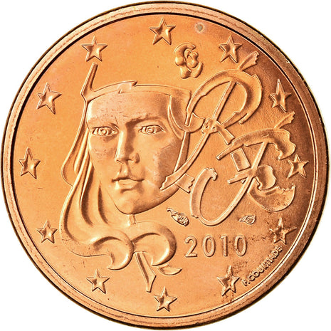 France, 5 Euro Cent, 2010, MS(63), Copper Plated Steel, KM:1284