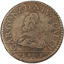 FRENCH STATES, 2 Liard, 1609, Charleville, KM #12.1, VF(20-25), Copper, C2G...