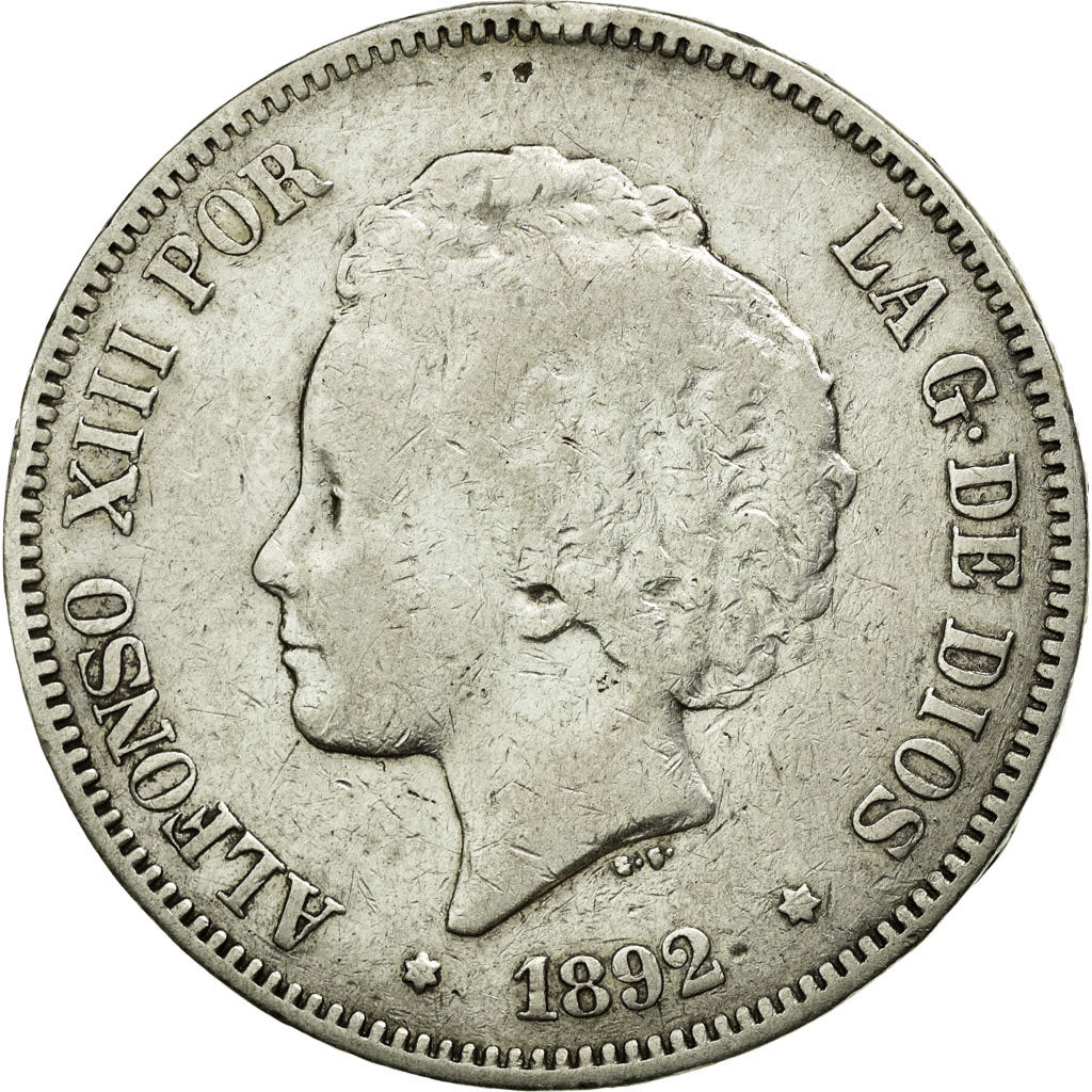 Coin, Spain, Alfonso XIII, 5 Pesetas, 1892, EF(40-45), Silver, KM:700