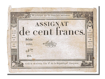 Banknote, France, 100 Francs, 1795, Malter, EF(40-45), KM:A78, Lafaurie:173