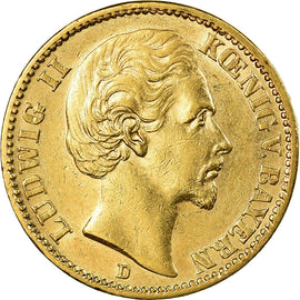Coin, German States, BAVARIA, Ludwig II, 20 Mark, 1876, Munich, EF(40-45), Gold