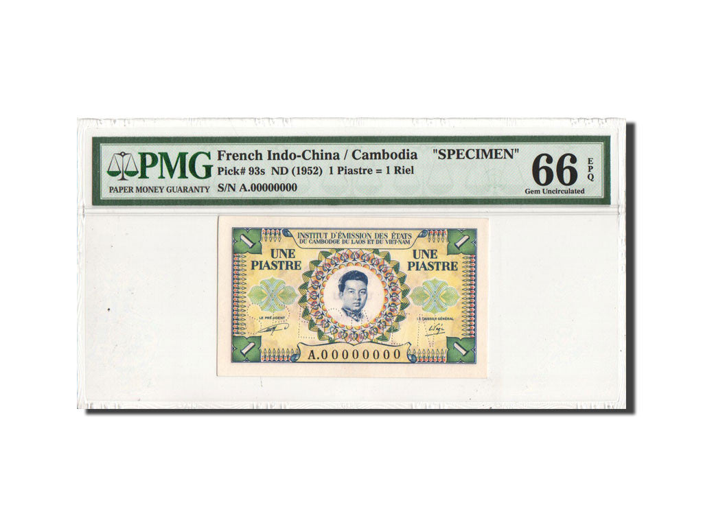 Banknote, FRENCH INDO-CHINA, 1 Piastre = 1 Riel, Undated (1953), KM:93, graded