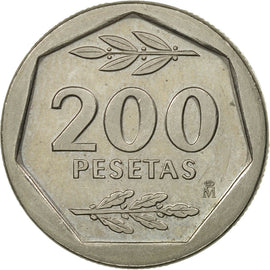 Coin, Spain, Juan Carlos I, 200 Pesetas, 1988, MS(60-62), Copper-nickel, KM:829