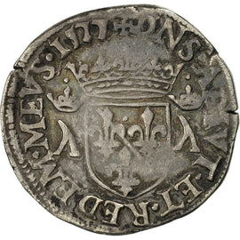 Coin, France, DOMBES, Louis II, Teston, 1577, Trévoux, F(12-15), Silver