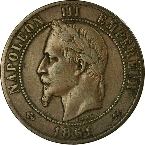Coin, France, Napoleon III, 10 Centimes, 1861, Bordeaux, VF(30-35), KM 798.3
