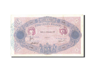 Banknote, France, 500 Francs, 500 F 1888-1940 ''Bleu et Rose'', 1907