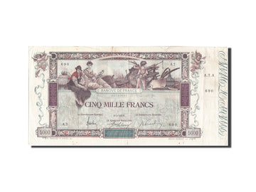 France, 5000 Francs, 5 000 F 1918 ''Flameng'', 1918, KM #76, 1918-01-09,...