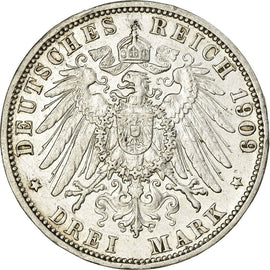 Coin, German States, BADEN, Friedrich II, 3 Mark, 1909, Stuttgart, AU(50-53)