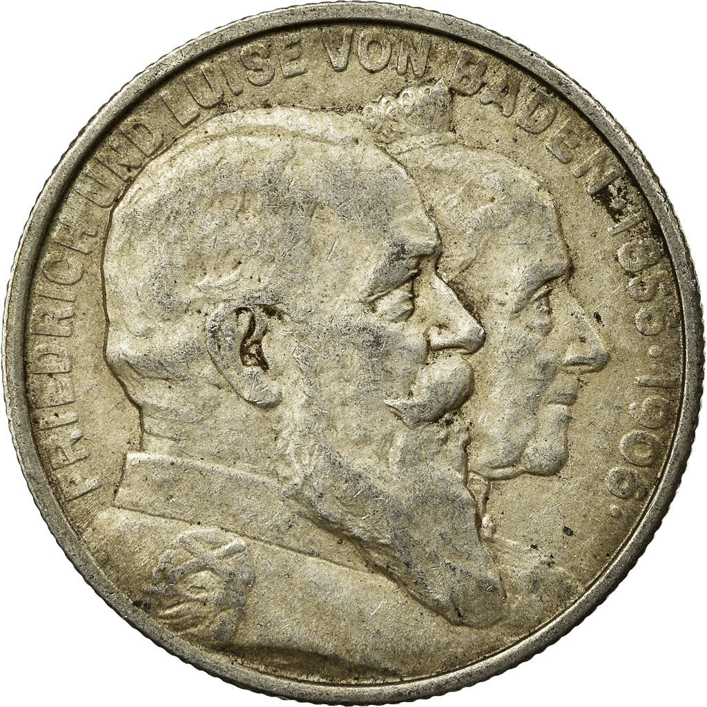 Coin, German States, BADEN, Friedrich I, 2 Mark, 1906, EF(40-45), Silver, KM:276