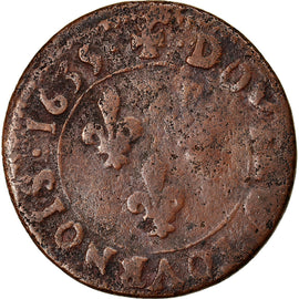 Coin, France, Louis XIII, Double tournois de Navarre, Double Tournois, 1635