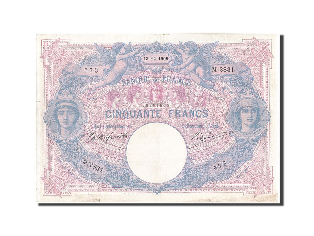 France, 50 Francs, 50 F 1889-1927 ''Bleu et Rose'', 1905, KM:64c, 1905-12-18,...