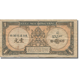 Banknote, FRENCH INDO-CHINA, 1 Piastre, 1945, Undated (1945), KM:58c, AG(1-3)