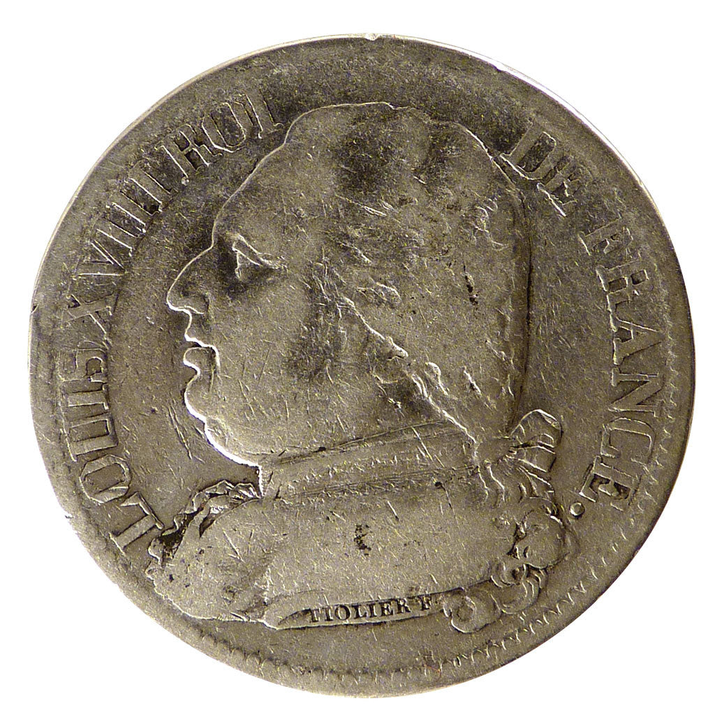 FRANCE, Louis XVIII, 5 Francs, 1814, Toulouse, KM #702.9, VF(30-35), Silver,...