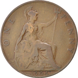 Coin, Great Britain, Edward VII, Penny, 1904, VF(30-35), Bronze, KM:794.2