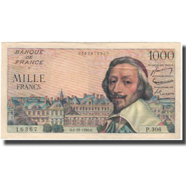 France, 1000 Francs, Richelieu, 1956, 1956-12-06, AU(55-58), Fayette:42.24