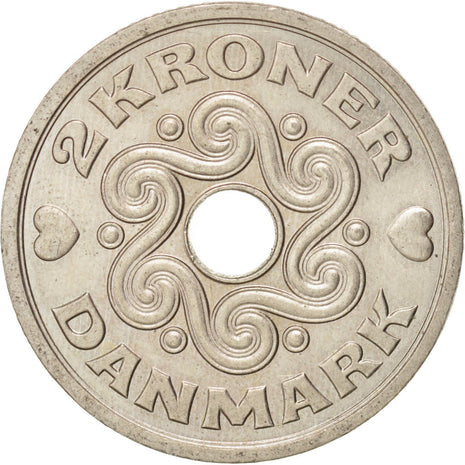 DENMARK, 2 Kroner, 1994, Copenhagen, KM #874.1, MS(60-62), Copper-Nickel, 24.5