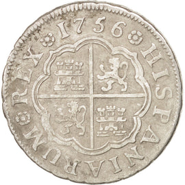 SPAIN, Real, 1756, Madrid, KM #369.1, EF(40-45), Silver, 2.90