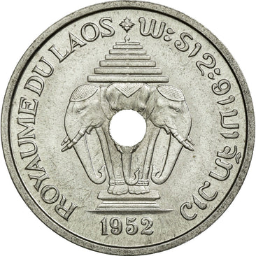 Coin, Lao, Sisavang Vong, 20 Cents, 1952, MS(60-62), Aluminium, Lecompte:5