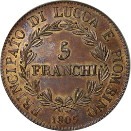 Coin, Italy, LUCCA, Felix and Elisa, 5 Franchi, 1805, Epreuve, MS(63), Copper