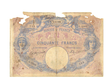 France, 50 Francs, 50 F 1889-1927 ''Bleu et Rose'', 1904, KM #64b, 1904-04-06,..