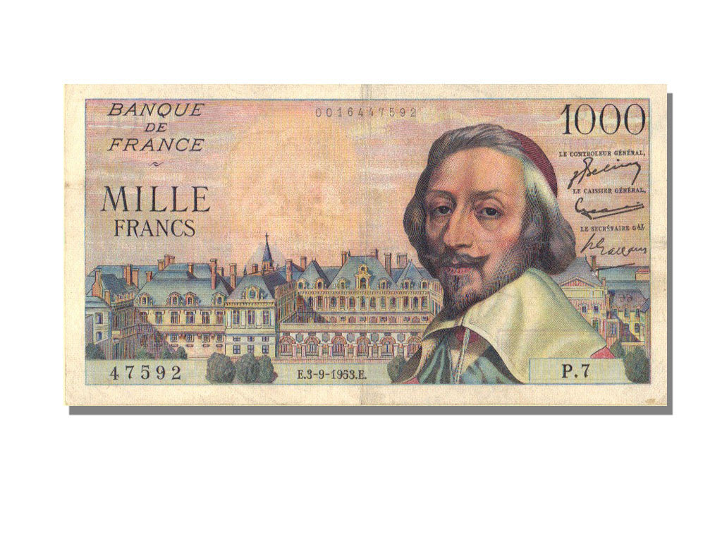France, 1000 Francs, 1 000 F 1953-1957 ''Richelieu'', 1953, KM #134a,...