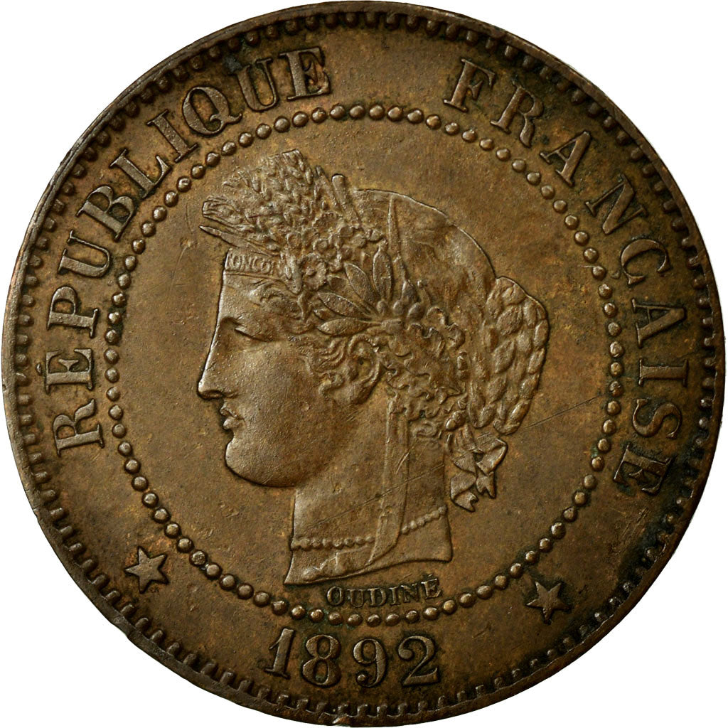 Coin, France, Cérès, 2 Centimes, 1892, Paris, AU(55-58), Bronze, Gadoury:105