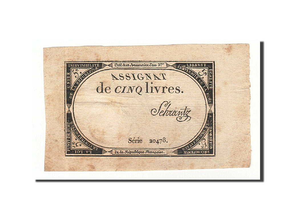 France, 5 Livres, 1793, KM #A76, 1793-10-31, EF(40-45), Lafaurie #171, France,..