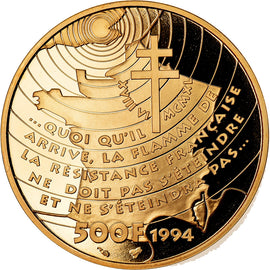 Coin, France, Général De Gaulle, 500 Francs, 1994, Paris, MS(65-70), Gold