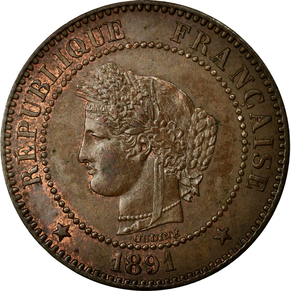 Coin, France, Cérès, 2 Centimes, 1891, Paris, AU(55-58), Bronze, Gadoury:105