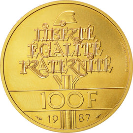 Coin, France, 100 Francs La Fayette, 1987, Pessac, MS(65-70), Gold, KM 962b