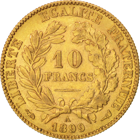 Coin, France, Cérès, 10 Francs, 1899, Paris, EF(40-45), Gold, KM:830