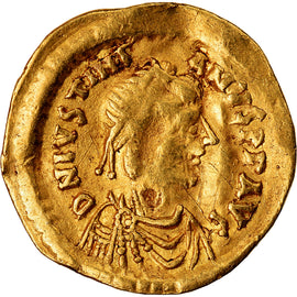 Coin, Justinian I, Tremissis, 527-565 AD, Constantinople, EF(40-45), Gold