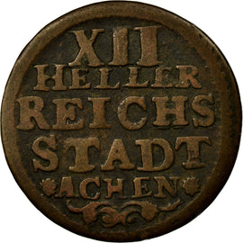 Coin, German States, AACHEN, 12 Heller, 1760, VF(20-25), Copper, KM:51