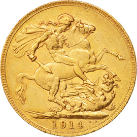 Australia, George V, Sovereign, 1914, Perth, AU(50-53), Gold, KM:29