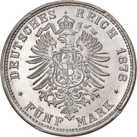 Coin, Germany, Friedrich II, 5 Mark, 1878, Uniface Reverse Die Trial, AU(55-58)