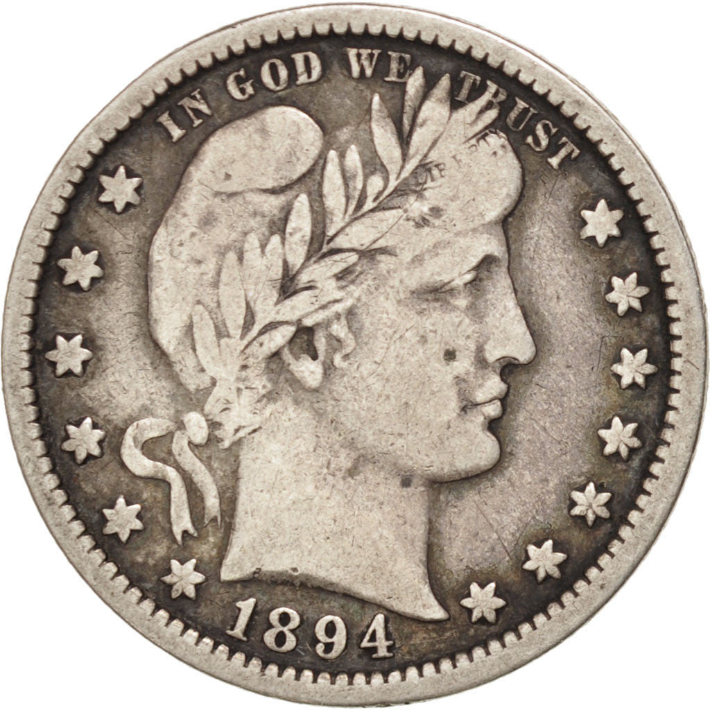Coin, United States, Barber Quarter, Quarter, 1894, U.S. Mint, Philadelphia