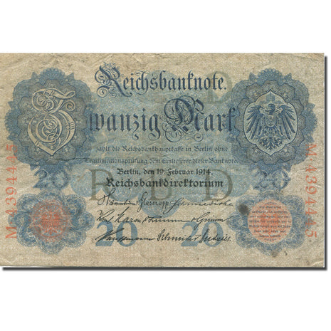 Banknote, Germany, 20 Mark, 1914, 1914-02-19, KM:46b, VF(20-25)