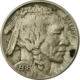 Coin, United States, Buffalo Nickel, 5 Cents, 1936, U.S. Mint, Philadelphia