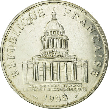 Coin, France, Panthéon, 100 Francs, 1988, Paris, MS(60-62), Silver, Gadoury:898