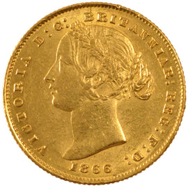 AUSTRALIA, Sovereign, 1866, Sydney, KM #4, AU(50-53), Gold, 7.98