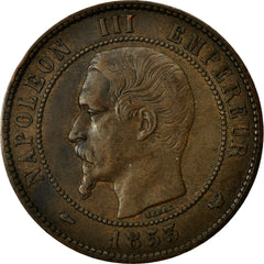 Coin, France, 10 Centimes, 1853, Lille, EF(40-45), Bronze, KM:M24, Gadoury:249c